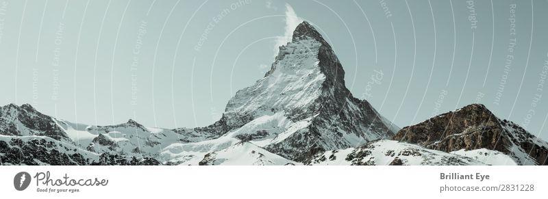 herausragen Ferien & Urlaub & Reisen Winter Berge u. Gebirge Natur Landschaft Wind Schnee Alpen Matterhorn außergewöhnlich bedrohlich frei blau einzigartig