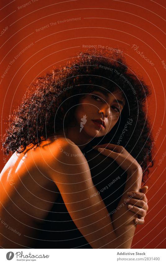 Sinnliche Frau im Studio hübsch Porträt Jugendliche oben ohne attraktiv verführerisch heiß Erotik lockig Behaarung brünett schön Erwachsene Körperhaltung
