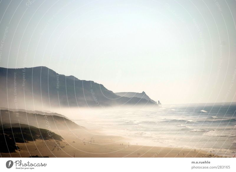 Westwind Himmel Natur Ferien & Urlaub & Reisen Sommer Meer Strand Landschaft Ferne Umwelt Küste Freiheit Sand Wellen Wind wild Nebel