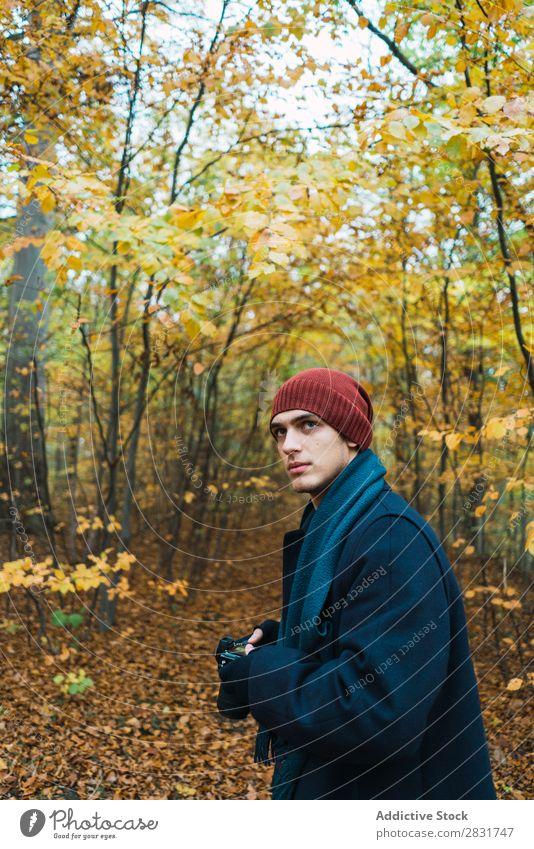 Mann posiert im herbstlichen Wald Straße Jugendliche Stadt Lifestyle lässig Mode Stil warme Kleidung Erwachsene modern Mensch trendy Typ