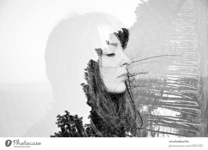 Hiddensee | Durch meine Finger geht der Wind Mensch Natur Jugendliche schön Baum ruhig Wald Erholung Erwachsene Gesicht Junge Frau feminin Haare & Frisuren 18-30 Jahre träumen außergewöhnlich