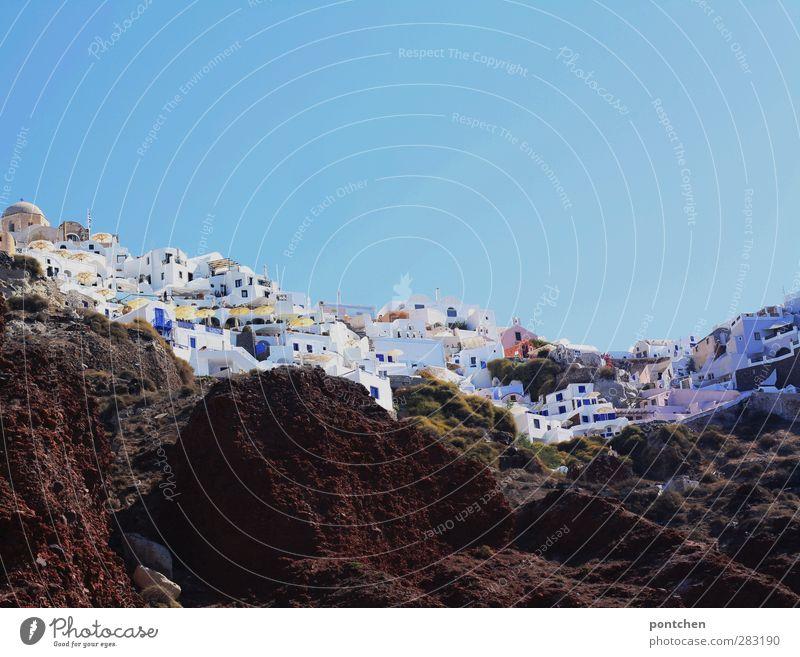 Santorini Himmel blau weiß Sommer Haus Felsen Wolkenloser Himmel Hafenstadt