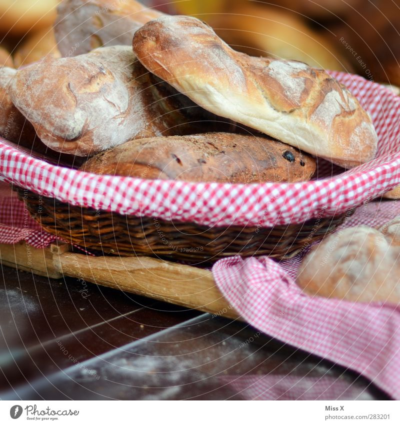 Körbchen Lebensmittel Teigwaren Backwaren Brot Brötchen Ernährung Frühstück Mittagessen Abendessen Schalen & Schüsseln frisch lecker Baguette Korb kariert