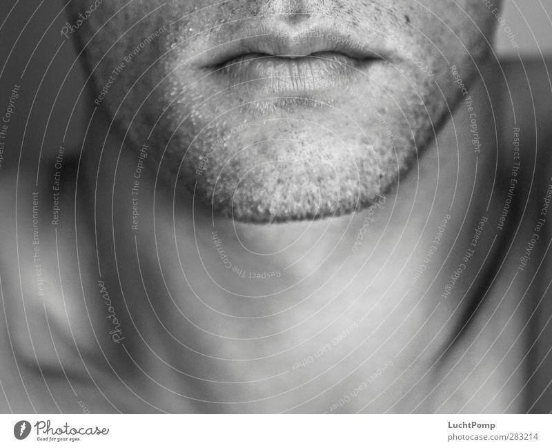 Der Moment Schlüsselbein sensitiv stark markant muskulös Mensch maskulin Mann Erwachsene Haut Kopf Gesicht Mund Lippen Bart Hals Kinn Männlicher Akt nackt