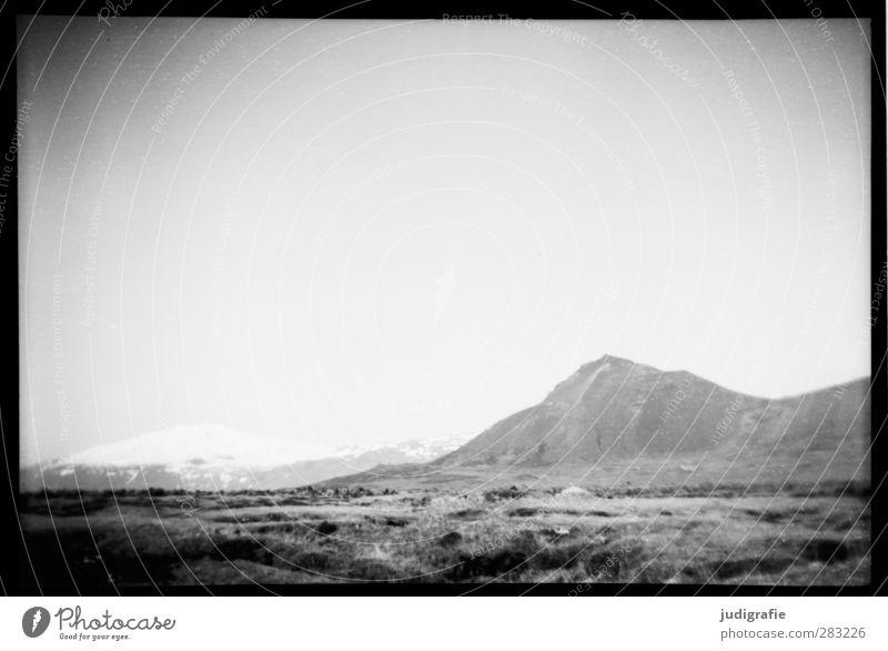 Island Natur Einsamkeit Landschaft Umwelt Berge u. Gebirge Felsen Stimmung außergewöhnlich Klima wild einzigartig Hügel Schneebedeckte Gipfel analog Gletscher