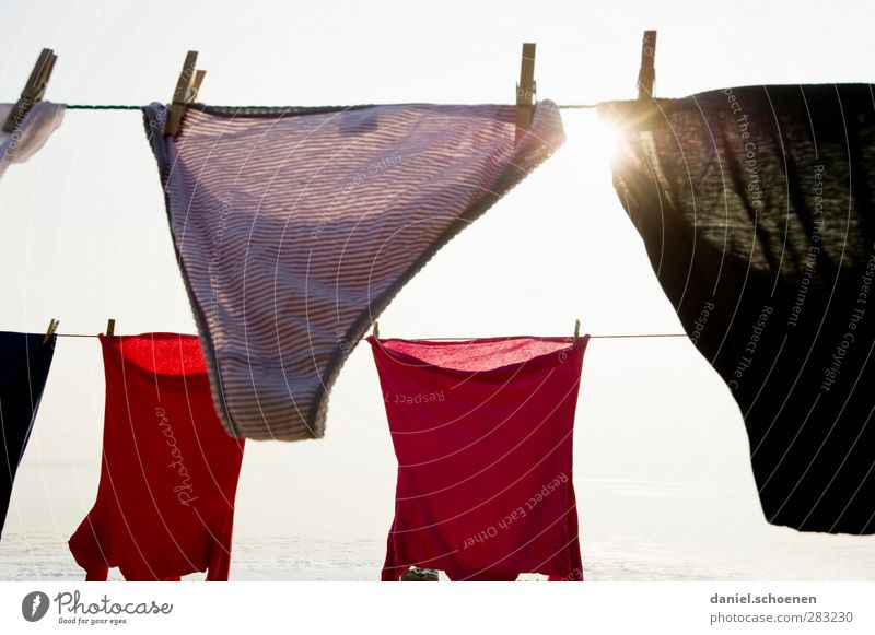 die Höschen der Nachbarin weiß rot Mode hell Bekleidung Häusliches Leben T-Shirt Unterwäsche