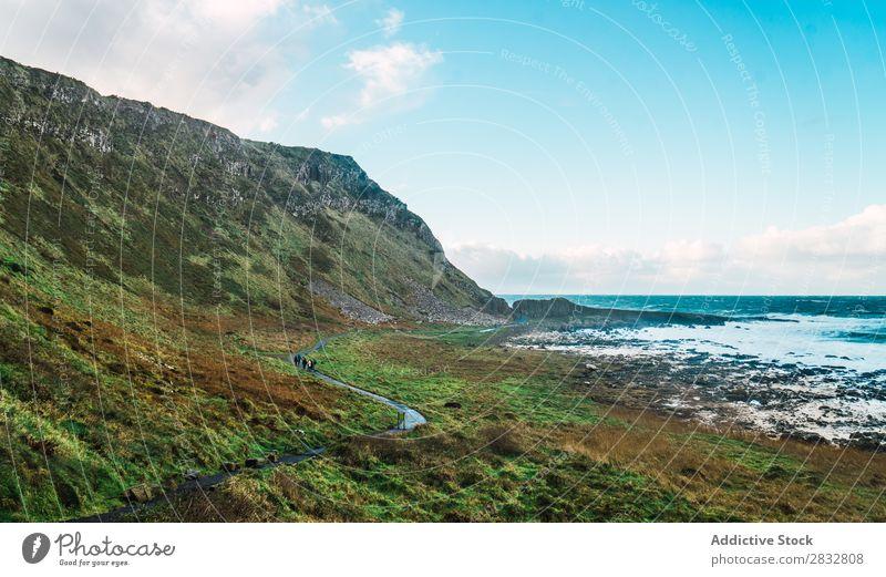 Kleine Straße am Meer Küste Seeküste Felsen Landschaft Strand Natur Wasser natürlich Meereslandschaft Stein schön grün Gras Nordirland Ferien & Urlaub & Reisen