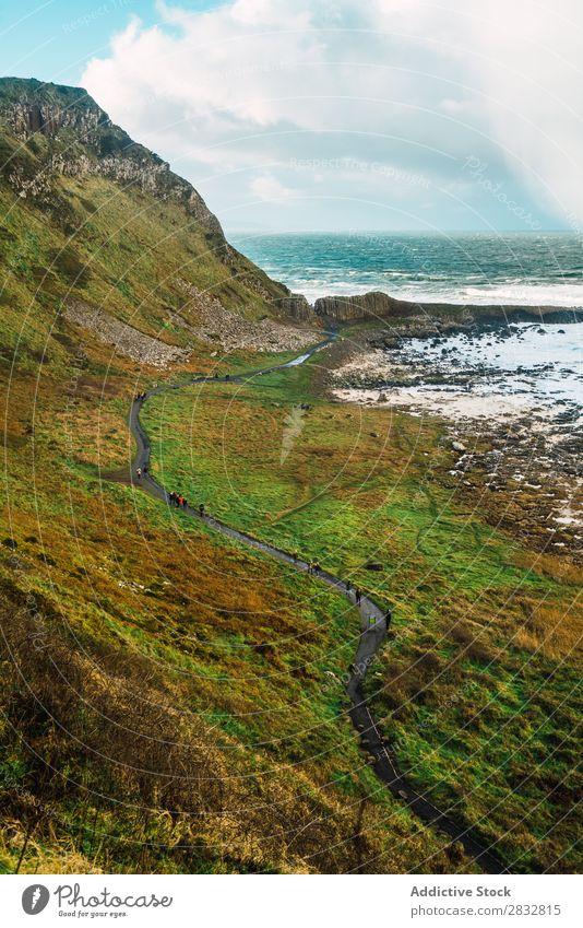 Kleine Straße auf einem Hügel am Meer Küste Seeküste Felsen Asphalt Landschaft Strand Natur Wasser natürlich Meereslandschaft Stein schön grün Gras Nordirland