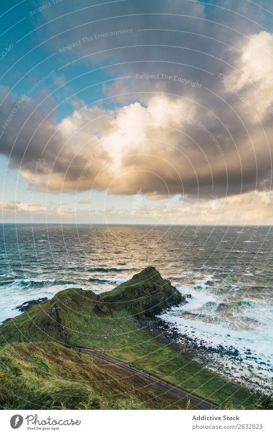 Grüner Felsen am Meer Küste Seeküste Landschaft Strand Natur Wasser natürlich Meereslandschaft Stein schön grün Gras Nordirland Ferien & Urlaub & Reisen