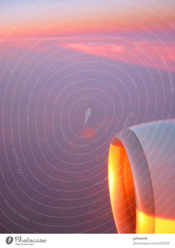 abendrot Himmel Sonne Meer Wolken Flugzeug Abenddämmerung