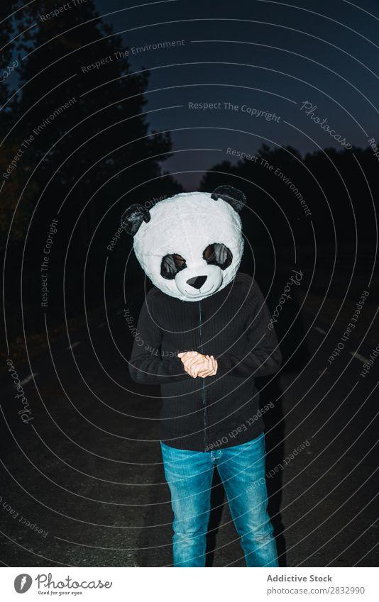 Mann mit Pandamaske Maske Frieden Mensch Idee lässig niedlich Kostüm Ausflug ruhen lustig gesichtslos unkenntlich anonym vertikal Straße Nacht Wald Natur
