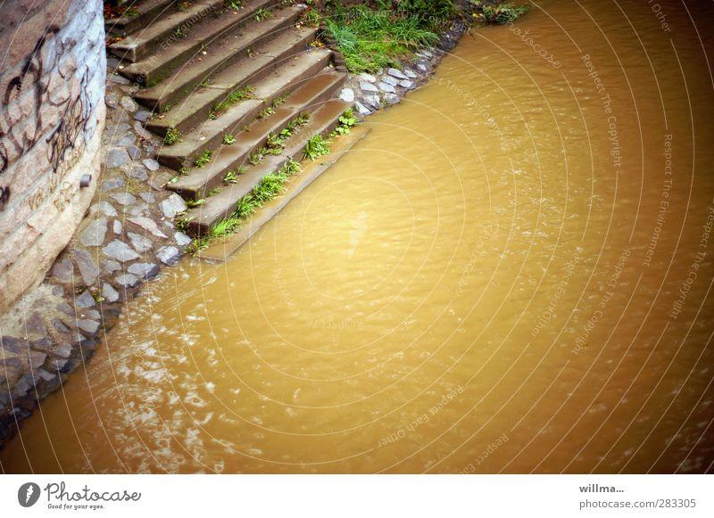 am gelben fluss Umwelt Natur Wasser Flussufer dreckig braun Überleben Umweltverschmutzung Böschung Mauer Uferbefestigung Treppe Apokalypse untergehen steil