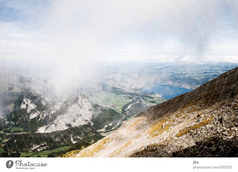 Berner Oberland Himmel Natur Sommer Wolken ruhig Landschaft Wald Ferne Berge u. Gebirge Leben Herbst Freiheit See Felsen Wind Nebel