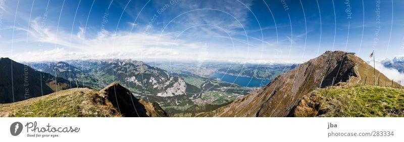 Berner Oberland Leben Tourismus Ausflug Sommer Berge u. Gebirge wandern Natur Landschaft Urelemente Himmel Wolken Herbst Schönes Wetter Wald Alpen Berg Niesen
