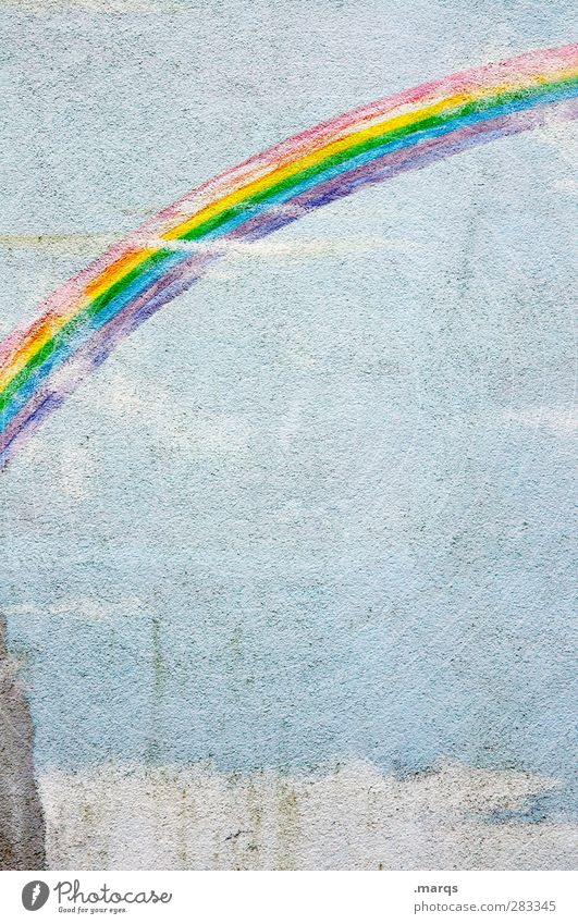 Rainbow Lifestyle Design Mauer Wand Zeichen alt kaputt schön blau mehrfarbig Gefühle Farbe Regenbogen Homosexualität Graffiti Lebensfreude Freiheit Geburtstag