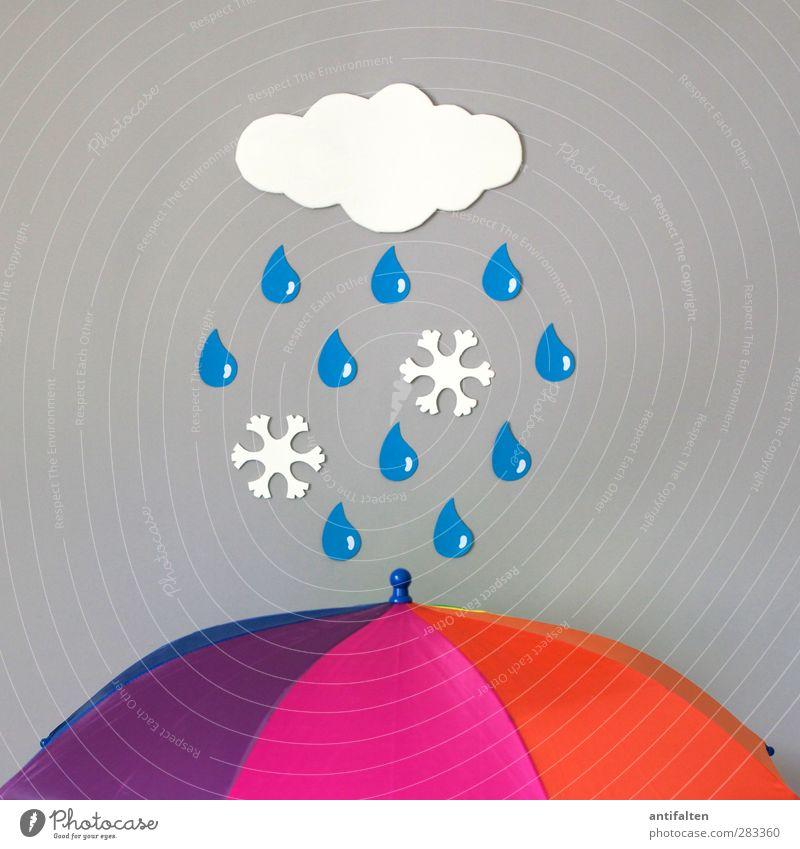 Schneeregen I blau weiß Wolken Winter Herbst Schneefall Eis Regen Wetter rosa orange Fröhlichkeit Wassertropfen Papier Frost