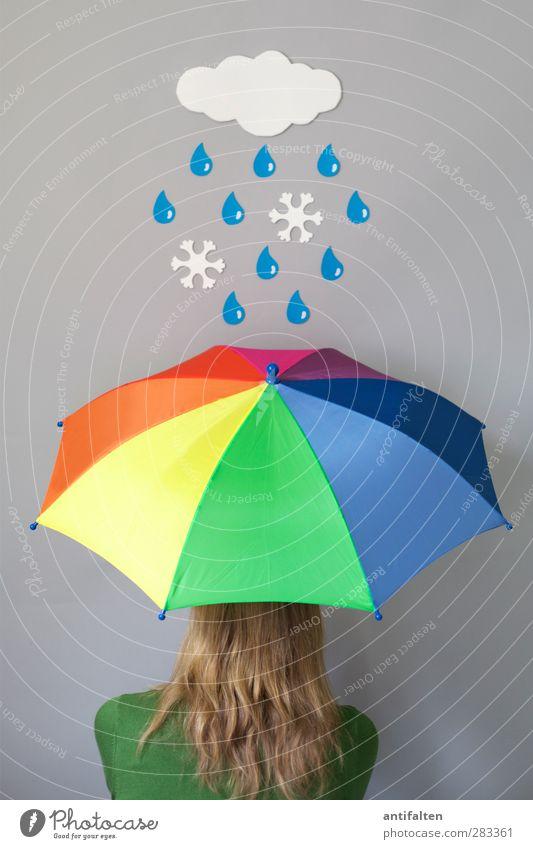 Schneeregen II feminin Junge Frau Jugendliche Erwachsene Kopf Haare & Frisuren 1 Mensch Wolken Herbst Winter schlechtes Wetter Regen Schneefall Pullover