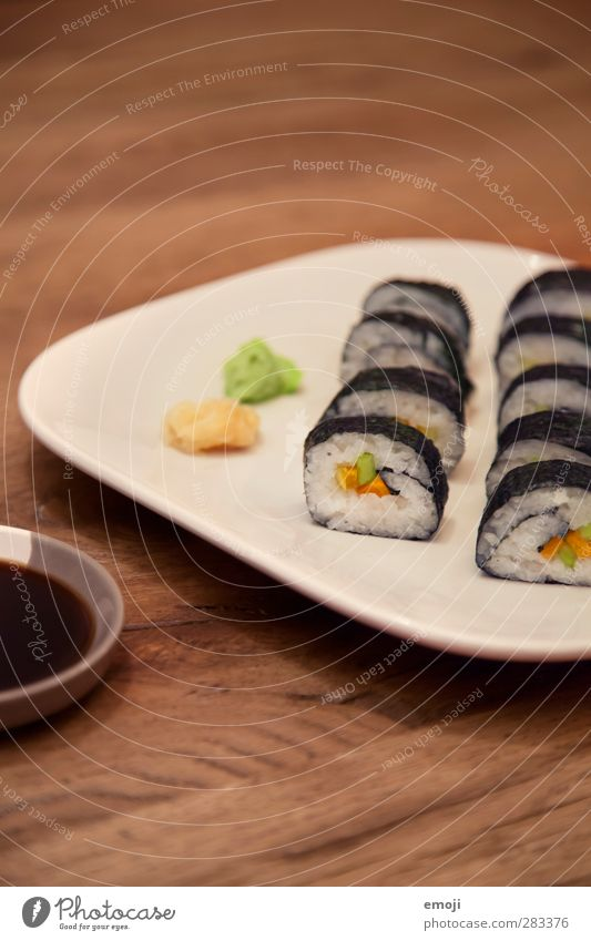veganes Sushi Ernährung Fisch lecker Teller exotisch Diät Vegetarische Ernährung Sushi Fingerfood