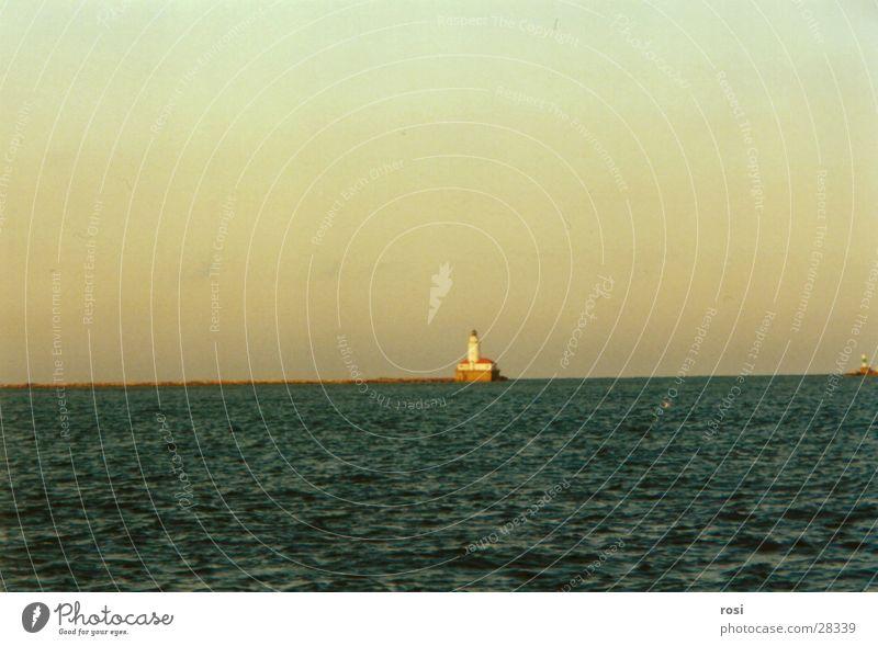 Leuchtturm Lake Michigan Abendsonne See Einsamkeit Wasser Insel