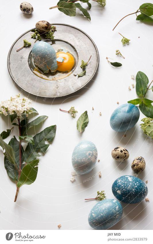 Osterplatz-Einstellmenü mit gebrochenem Ei, blau gefärbt Abendessen Teller Freude Dekoration & Verzierung Restaurant Feste & Feiern Ostern Handwerk Blume Blatt