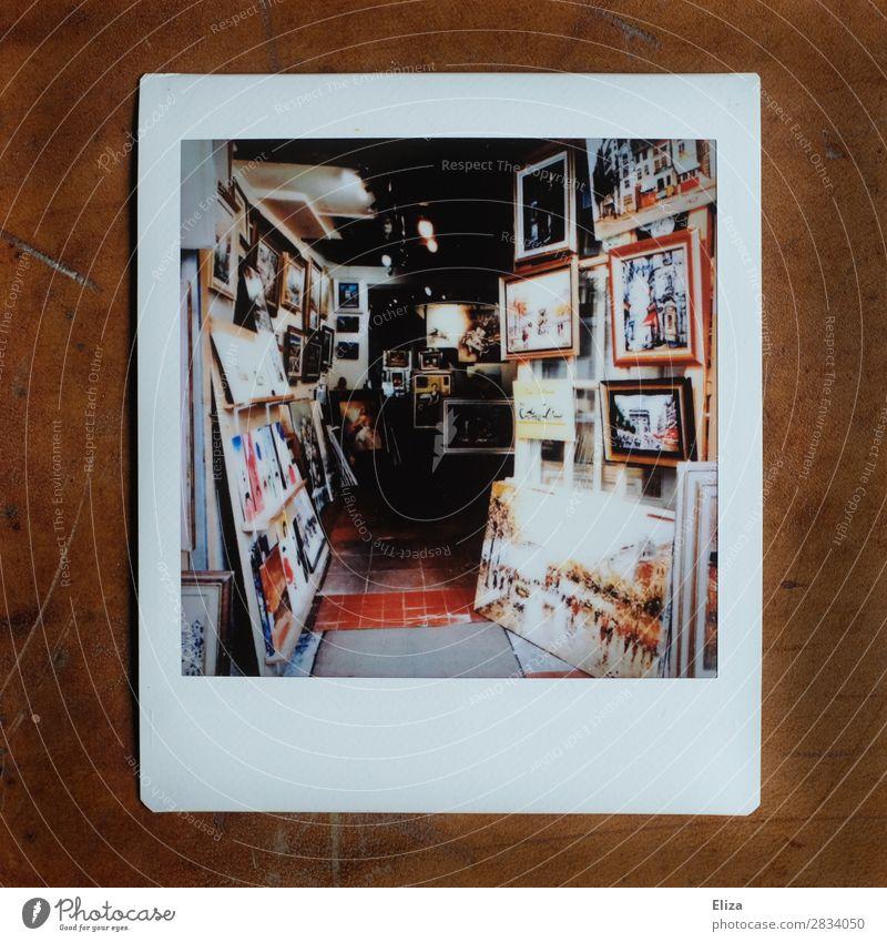 Montmartre, Paris Atelier Kreativität Künstler Gemälde Kunst Ladengeschäft Kunstgalerie Bilderrahmen Gedeckte Farben Polaroid