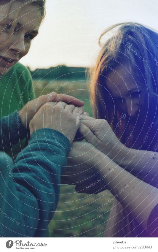 geheimnishütung geheimnisvoll Außenaufnahme Wiese Natur Mensch Gesicht Haare & Frisuren Hand Zusammenhalt Menschengruppe Ziel Jugendliche Junge Frau Mädchen