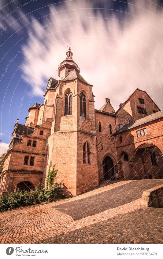 Marburger Schloss Himmel blau Ferien & Urlaub & Reisen weiß Sommer Wolken schwarz gelb Fenster Wand Herbst Frühling Mauer Gebäude braun orange