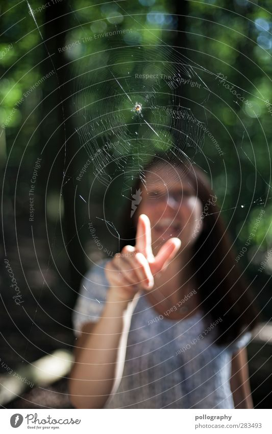 IHHHH EINE SPINNEEEEE!!! Mensch feminin Junge Frau Jugendliche Erwachsene Leben Finger 1 18-30 Jahre Natur Landschaft Schönes Wetter Wald Wildtier Tier Ekel
