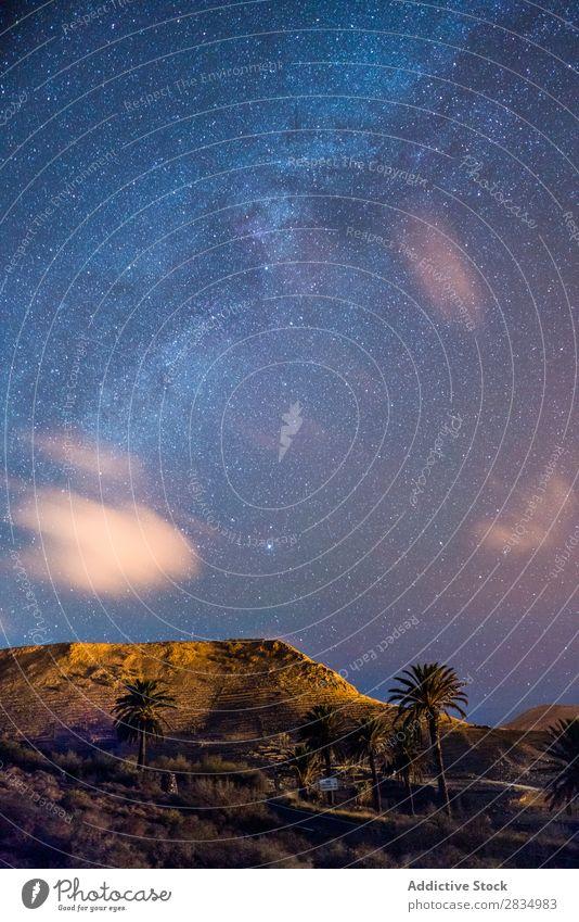 Hügel und Sternenhimmel Berge u. Gebirge Wolken Abend Natur Landschaft natürlich Felsen Stein Lanzarote Spanien Aussicht Ferien & Urlaub & Reisen Tourismus