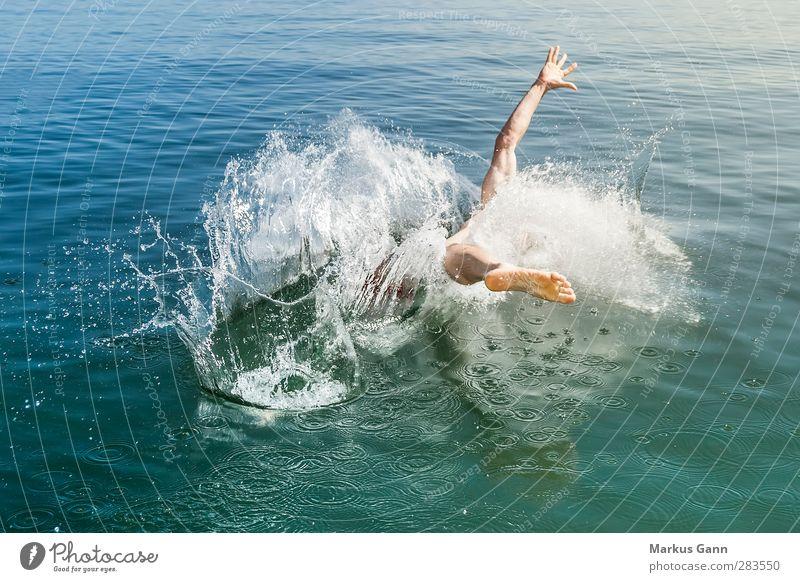 Sprung in das kalte Wasser Sommer Meer Schwimmen & Baden Mensch maskulin Mann Erwachsene 1 30-45 Jahre springen blau Beginn spritzen Wassersport Freude Bewegung