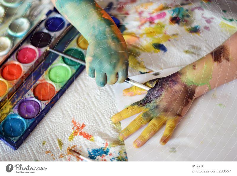 Selbst ist das Kind Freizeit & Hobby Spielen Basteln Mensch Kleinkind Kindheit Arme Hand Finger 1 1-3 Jahre 3-8 Jahre Kunst Künstler Maler dreckig lustig
