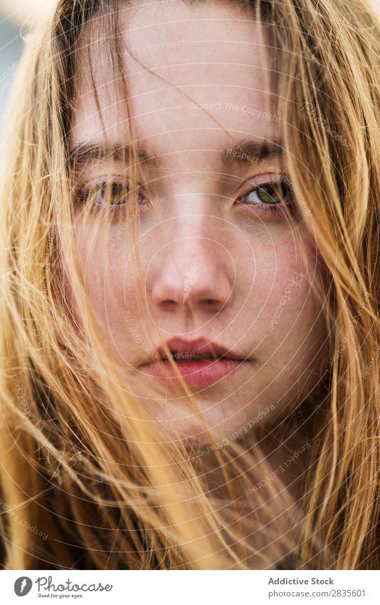 Gesicht des hübschen Mädchens Frau Porträt Jugendliche schön Blick in die Kamera fliegen Behaarung träumen Fürsorge besinnlich Nahaufnahme Beautyfotografie