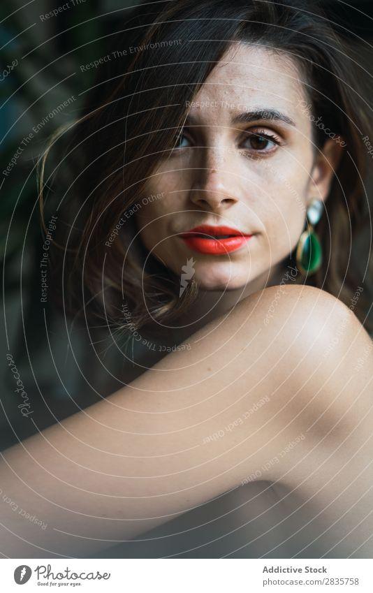 Schöne Frau mit hellem Make-up schön Schminke Mode Gesicht Glamour Porträt Lippen Stil Lippenstift Fürsorge Haare & Frisuren elegant niedlich attraktiv brünett