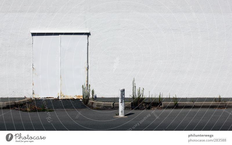 Parkplatz: besetzt. alt Stadt weiß Pflanze Einsamkeit schwarz Straße Wand Mauer Traurigkeit Gebäude Stein Tür Verkehr Platz Industrie
