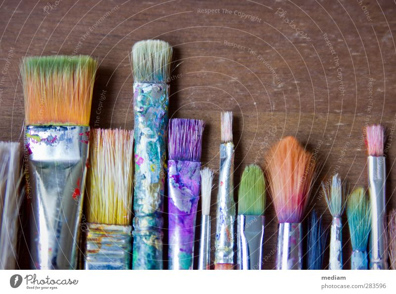 Pinselsammlung Künstler Atelier Kunst Maler Kunstwerk Gemälde Grafik u. Illustration Grafikdesign Aquarell Borsten künstlerbedarf Malutensilien