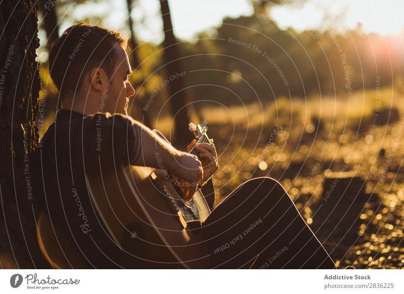 Mann spielt Gitarre in der Natur Musik Wald Sonnenstrahlen Tag anlehnen sitzen Rüssel Lifestyle Musiker lässig Gitarrenspieler akustisch Herbst Musical Mensch
