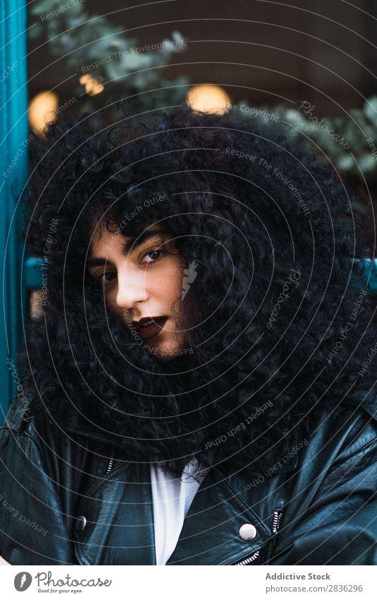 Hübsche Frau, die im Fall posiert. attraktiv Großstadt modisch lockig brünett Jacke stehen fallen Glas Mode Jugendliche schön hübsch Straße Model Stil Behaarung