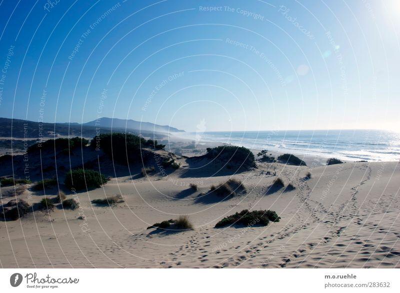 Routes Natur blau Ferien & Urlaub & Reisen Sommer Meer Strand Landschaft Ferne Umwelt Wege & Pfade Küste Freiheit Sand Stimmung Wellen Insel
