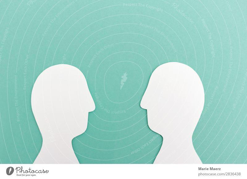 Dialog // Blickwechsel sprechen Team Mensch androgyn Kopf 2 Beratung Denken Kommunizieren einfach positiv grün achtsam Ehrlichkeit Interesse Partnerschaft