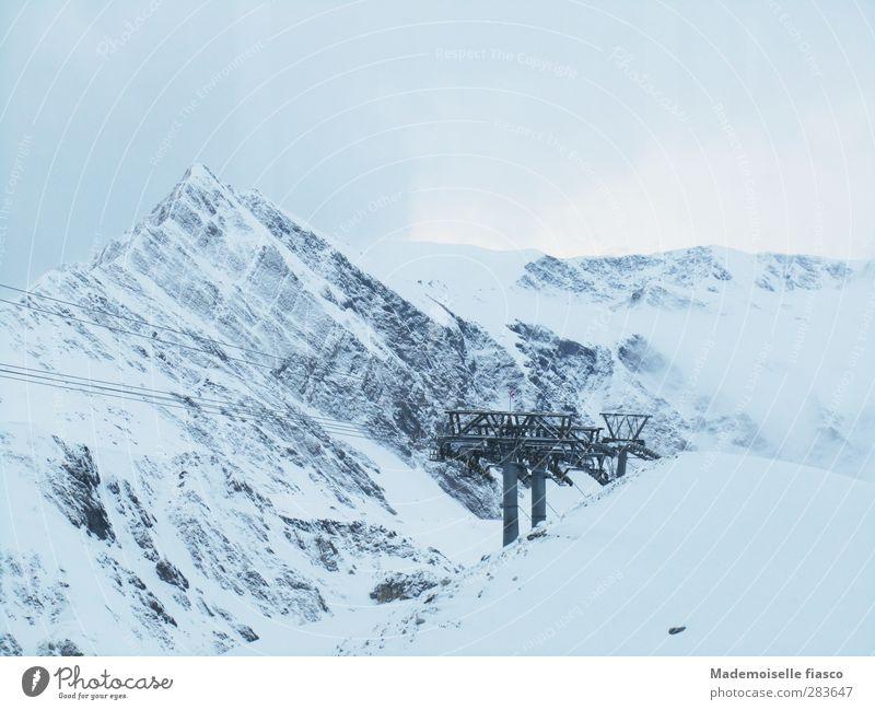 Erschlossen Einsamkeit Wolken ruhig Winter Berge u. Gebirge kalt Schnee oben Nebel Abenteuer Idylle Alpen Gipfel Schneebedeckte Gipfel Gletscher Wintersport