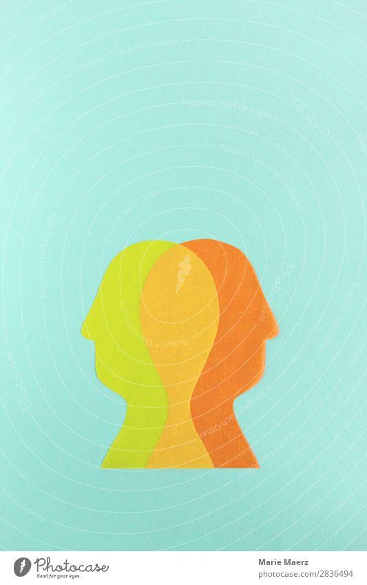 Doppel-Kopf Mensch androgyn Paar 2 Denken Kommunizieren Konflikt & Streit außergewöhnlich Zusammensein mehrfarbig Fairness Zufriedenheit Partnerschaft Erfahrung