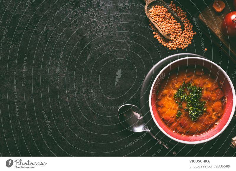 Rote Linsensuppe Lebensmittel Suppe Eintopf Ernährung Mittagessen Bioprodukte Vegetarische Ernährung Diät Geschirr Stil Gesunde Ernährung Häusliches Leben
