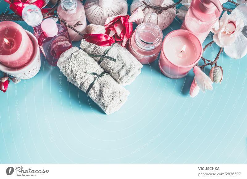 Rosa Spa und Wellness mit Magnolien Blüten Stil Design schön Körperpflege Kosmetik Gesundheit Erholung Frühling rosa Hintergrundbild Massage Magnolienblüte
