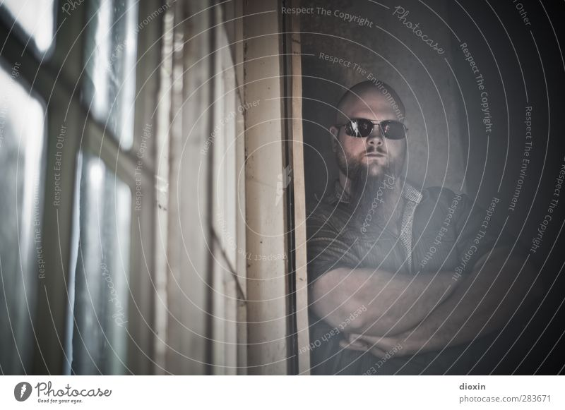 so what?! Mensch maskulin Junger Mann Jugendliche 1 18-30 Jahre Erwachsene Jugendkultur Musiker Haus Fenster Hemd Sonnenbrille Blick stehen bedrohlich groß