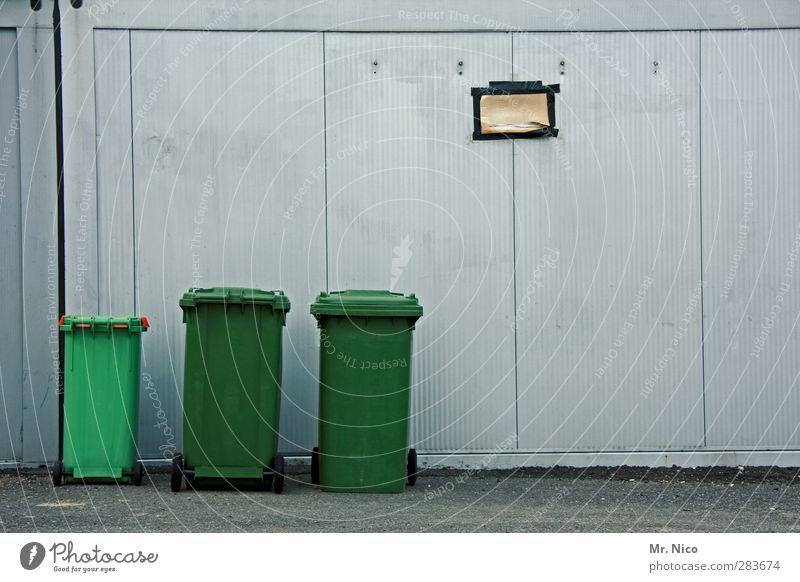 Wenn ich mal groß bin... Kleinstadt Stadt Fassade grün Hinterhof Müll Müllbehälter Grüner Punkt entsorgen Größenunterschied Wand grau Wertstoff Müllverwertung