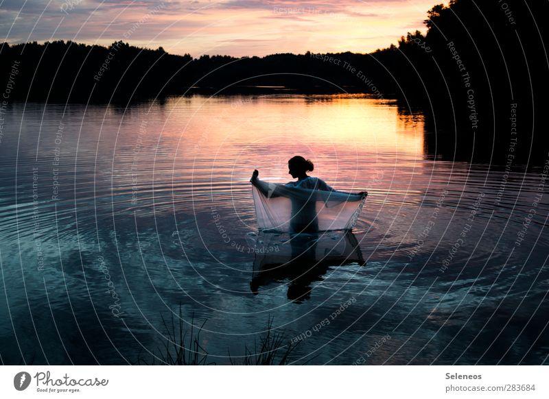 beautiful day Mensch Frau Himmel Natur Sommer Sonne ruhig Landschaft Erholung Erwachsene Umwelt Küste Freiheit See Horizont Schwimmen & Baden