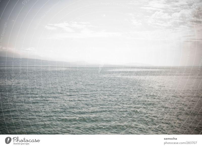 Horizont Natur Ferien & Urlaub & Reisen Wasser Meer Strand Wolken Ferne Küste See Horizont Wasserfahrzeug Schwimmen & Baden Wetter Wellen nass Seeufer