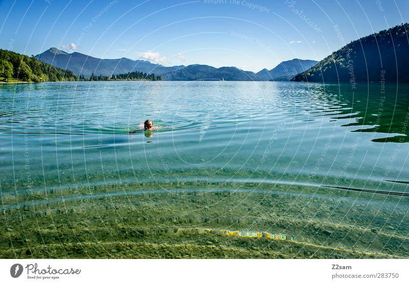 Blub Blub Natur Jugendliche Ferien & Urlaub & Reisen Wasser Sommer Baum ruhig Landschaft Erholung Berge u. Gebirge Bewegung Junger Mann See Schwimmen & Baden