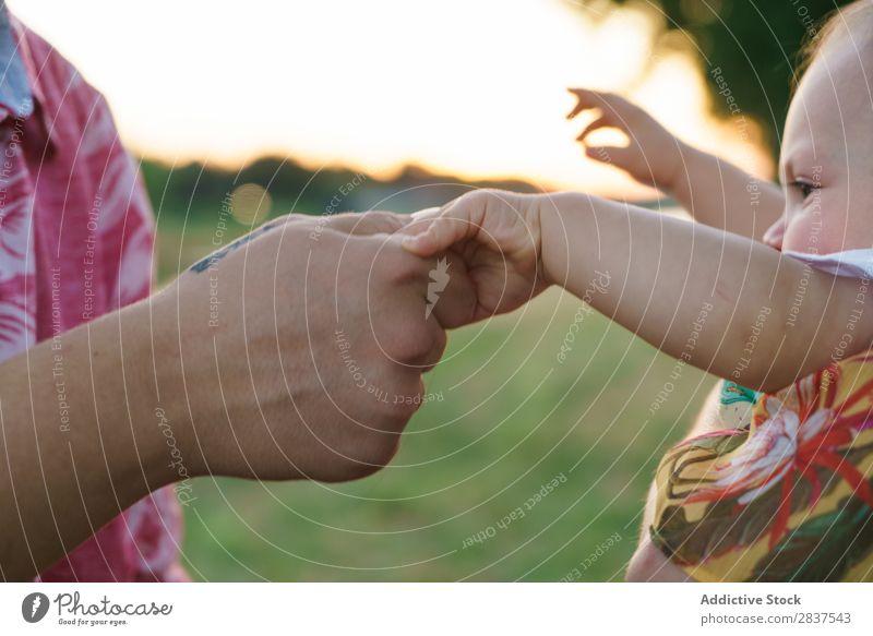 Mutter und Kind halten Händchen Park Rasen grün Sonnenstrahlen Familie & Verwandtschaft Glück Mensch Frau Fröhlichkeit Sommer Lifestyle Liebe Eltern Natur