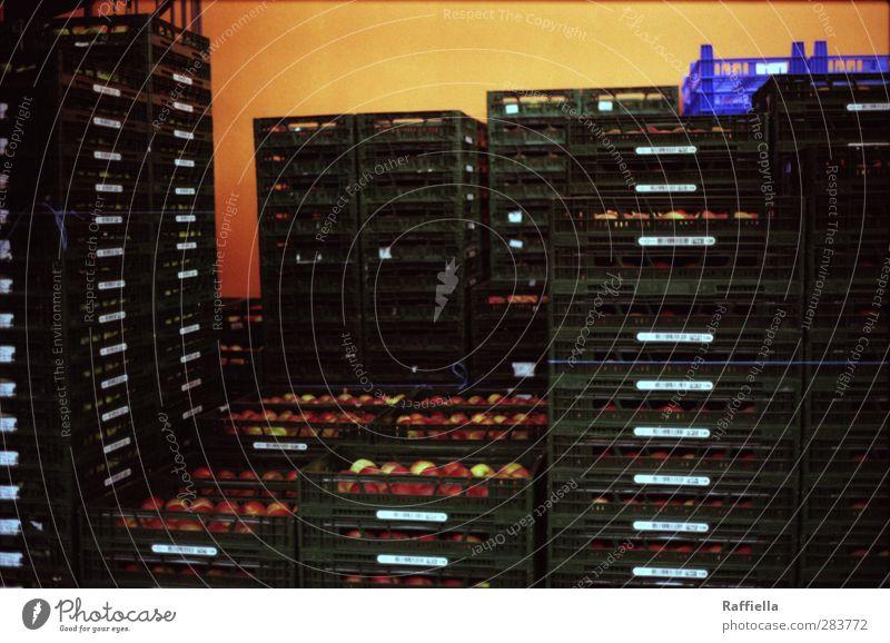 Markthalle I Apfel grün orange rot Kiste Stapel Lagerhalle Essen Gesunde Ernährung Frucht Obstkorb Obstkiste Farbfoto Innenaufnahme Menschenleer Kunstlicht